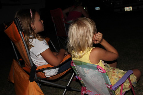 Brook and Jill watching fireworks.