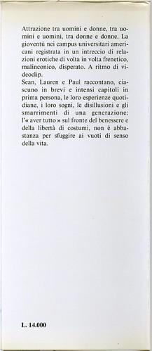 Bret Easton Ellis, Le regole dell'attrazione. Pironti 1988. Risvolto della quarta di sovracoperta. Prima edizione, seconda sovracoperta.