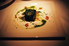 Il Filetto di Salmone in Foglia di Lattuga al Vapore con Verdurine (Steamed Salmon Filet Wrapped in Lettuce Leaves Served with Seasonal Vegetables), La Barca Ristorante & Wine Bar