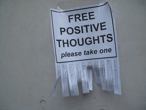 "funny charming sign ""free positive thoughts"""