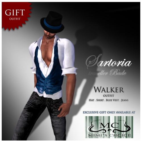 GIFT !Sartoria Outfit WALKER Blue Vest . Exclusive @ Mimi by mimi.juneau *Mimi's Choice*