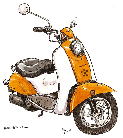 orange moped