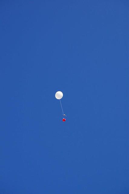 The balloon takes flight