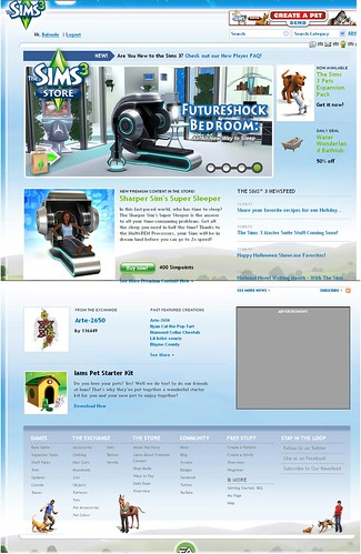 The Sims 3 Website Gets a New Home Page... Again.