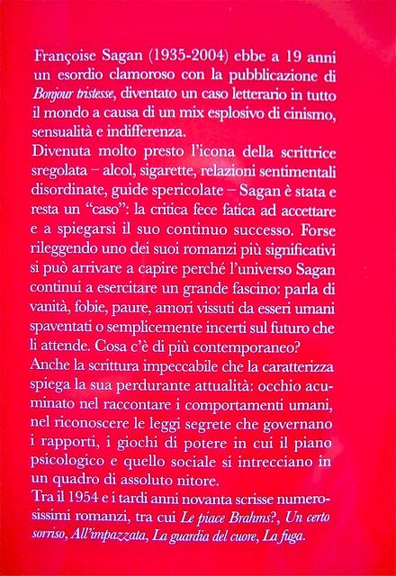 Françoise Sagan, All'impazzata, Astoria 2011; progetto grafico di zevilhéritier. Risvolto della q. di cop. (part.), 1