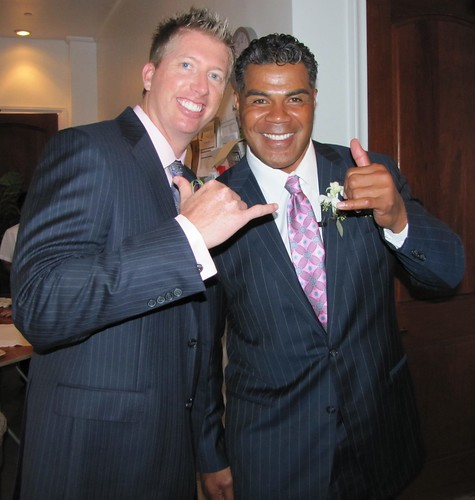 The happy groom and Mr. Seau