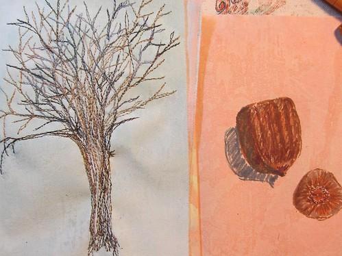 stitched elm, sketched acorn