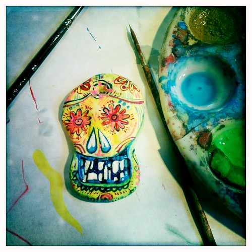 clay skull - painting