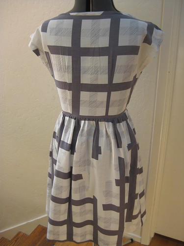 gray ghost plaid dress back