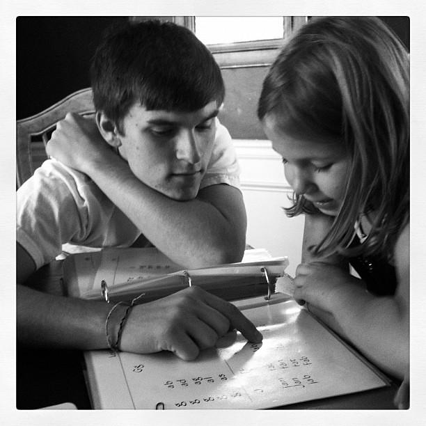 Love watching 16yo brother teaching 6yo sister to read