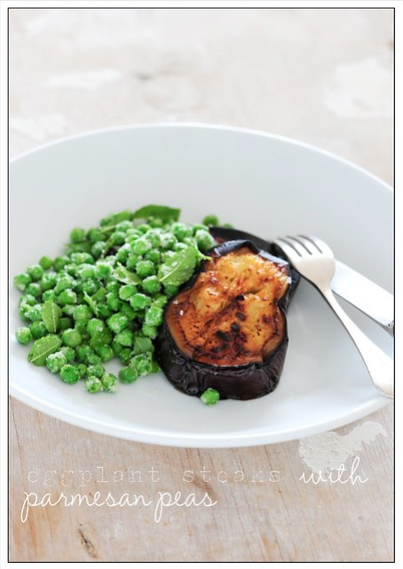 eggplant steaks with parmesan peas