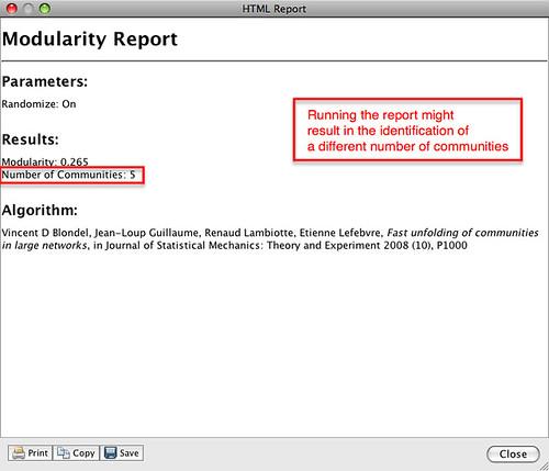 Gephi - modularity statistic report