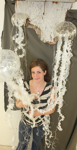 Emily Rigney and her sculputure  111023