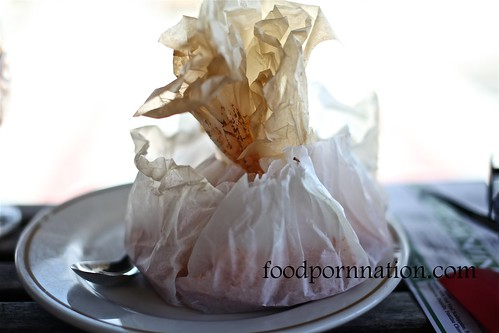 Spaghetti arrabbiata cooked in a bag