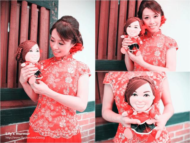 我穿著復古的鳳仙裝跟荳芽小妹一起拍照,我們真的看起來很像喔?雖然她眼睛比我的大...