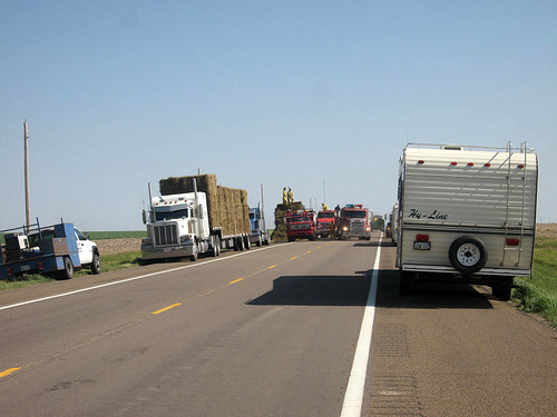 Traffic was held up as we moved to Colby due to a fire on a hay truck