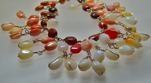 Mexican Fire Opal & Gold Necklace by WETCLOUD