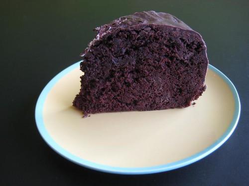 Half of the chocolate-beetroot pie