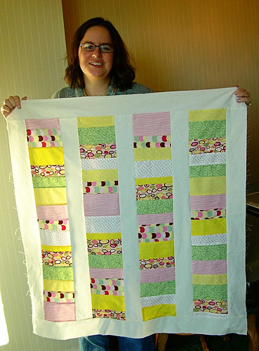 Kate and her baby quilt top