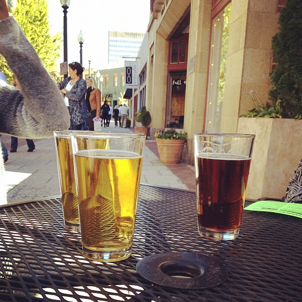 Lunchtime beers at Laughing Seed Cafe.