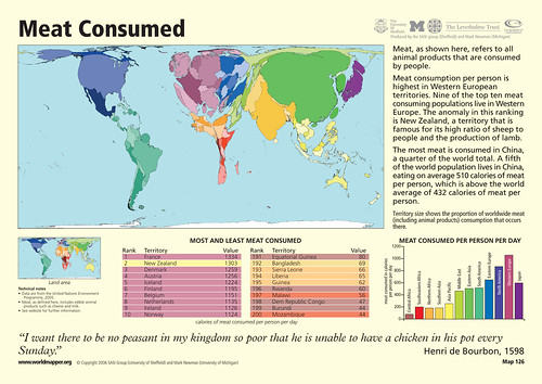 Map of levels of meat consumed in the world