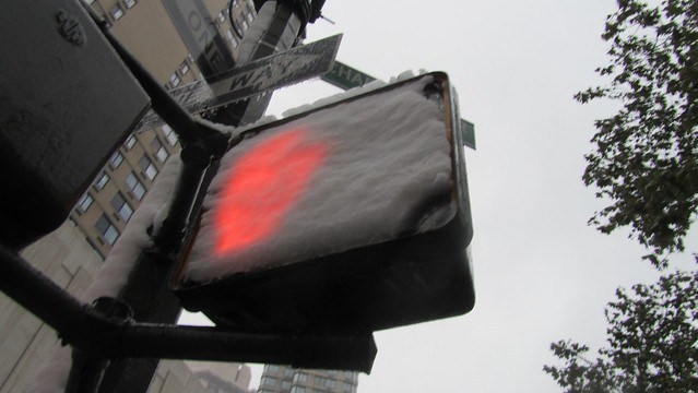 snowtober. pedestrian signal.