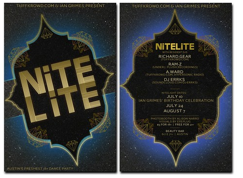 2-Sided Postcard for NiteLite at Beauty Bar
