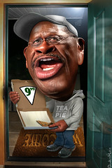 Pizza man's here! . . . Herman Cain - Cartoon