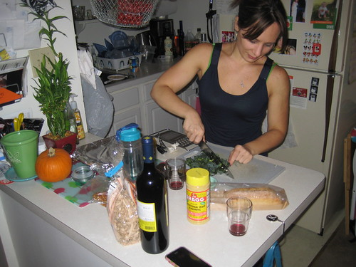 Kim cooking vegan meal