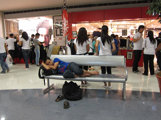 Sleeping in the mall