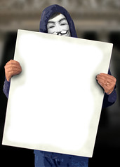 Occupy Wall Street protestor holding blank poster