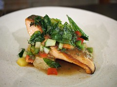 roasted salmon with panzanella salad. Open Door Policy, Yong Siak Street, Yong Siak View, Tiong Bahru Estate