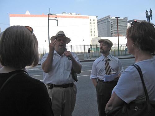 09-25-11-CA-LA-LAVA walking tour-Richard Schave lectures, Nathan Marsak listens.jpg