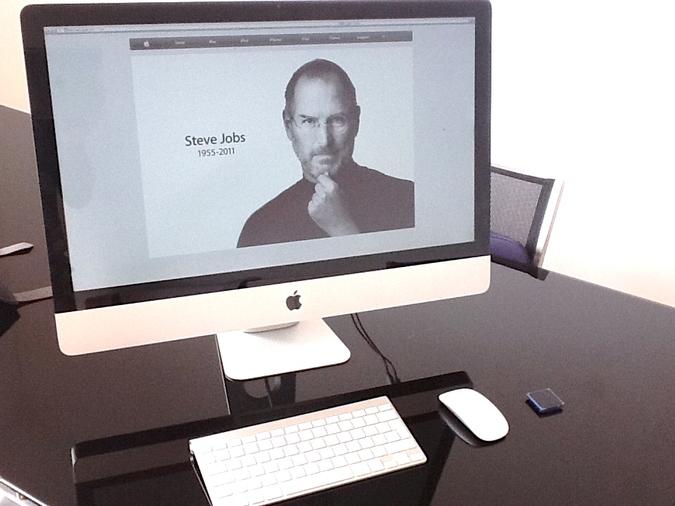 iMac with Steve Jobs image on Apple website