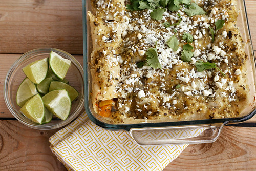 Butternut Squash Enchiladas with Tomatillo Sauce