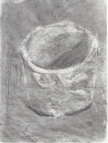Clay bowl, charcoal sketch by floating ink