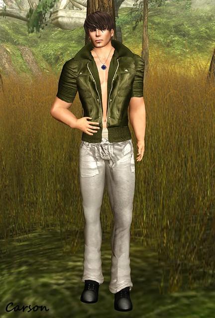 Vero Modero - Grey Denim Jeans and Army Jacket, Golden Thorn - Glittering Night Diamond Pendant