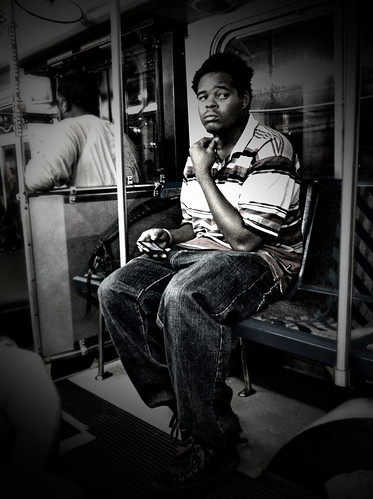 A man on a bus...thinking.