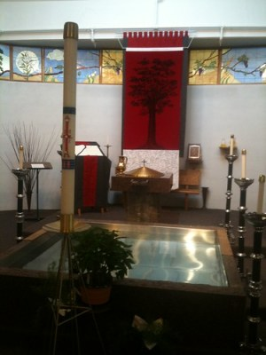 Font and Baptistry with the Book of Remembrance, Tree of Life