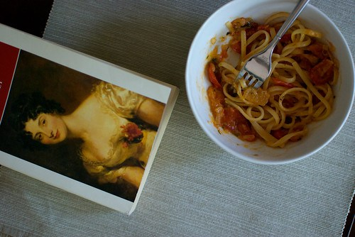 pasta and a book