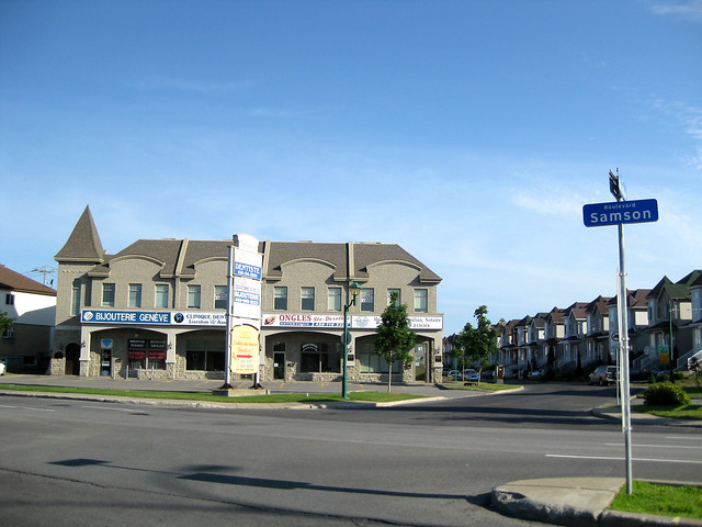 A strip mall designed to look like a McMansion