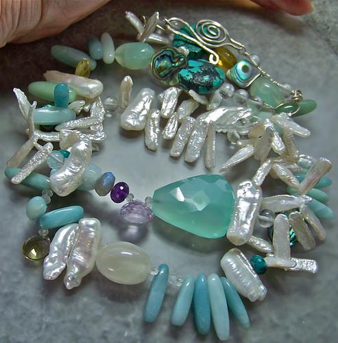 Mermaid Gemstone & Pearl Necklace by WETCLOUD