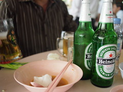 Cold Heinekens with Lunch at a Hawker Centre