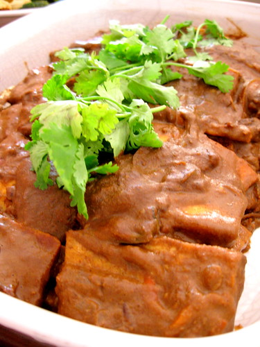 chocolate chile mole smothered tofu