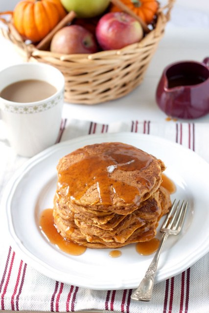 Pumpkin-Apple Pancakes with Apple Cider Syrup