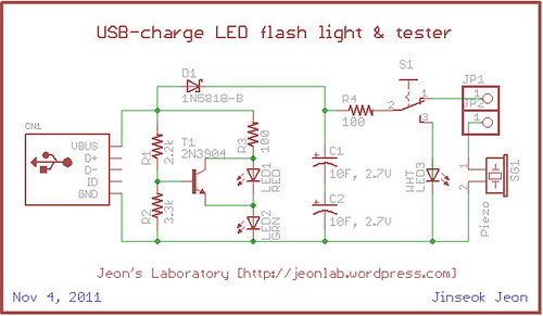 USB chargeable flashlight & circuit tester with charge indicator LED (1/6)