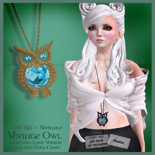 vintage owl necklace vendor