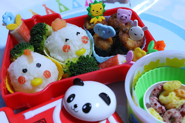 Rooster and Hen Bento