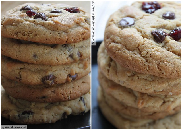 Peanut-Butter Oatmeal Chocolate chips Cranberry Cookies