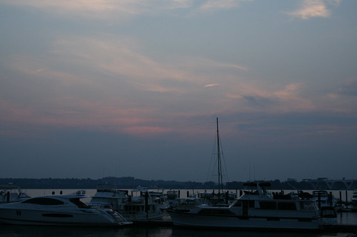 Dusk sky over the harbor